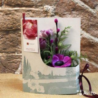 Корзинкой цветов, открытки с живыми цветами своими руками